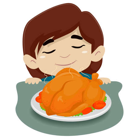 Vector Illustration of Little Girl Smelling the Chicken on the Table 矢量图像