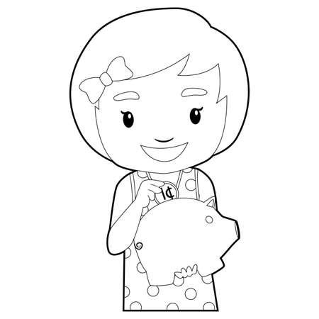 pre teen: Coloring Book Outlined Little Girl holding Piggy Bank Illustration