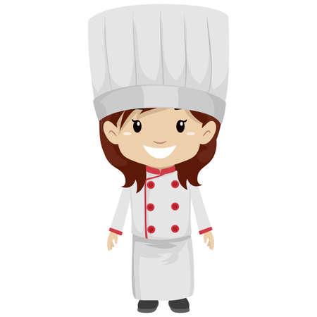 Vector Illustration of a Girl wearing Chef Uniform Ilustração