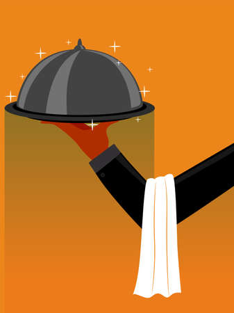 Vector Illustration of Hand with Table Napkin in the Arms while holding a Restaurant Cloche