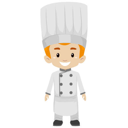 Vector Illustration of Boy wearing a Chef Uniform