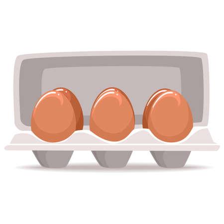 Vector Illustration of Organic Eggs inside the Box