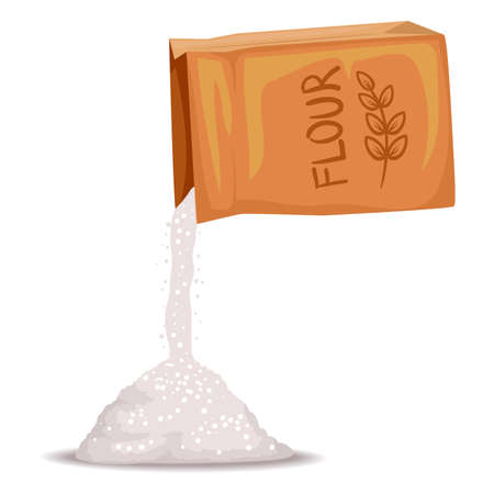 Vector Illustration of Box of Flour Pouring