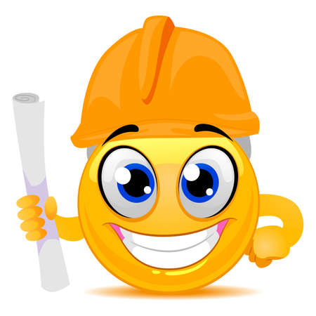 Vector Illustration of Smiley Emoticon wearing Engineer Cap while holding a Rolled Paper
