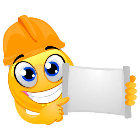 Vector Illustration of Smiley Emoticon wearing a helmet Engineer while holding a blank open paper board