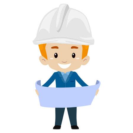 Vector Illustration of Head Engineer Boy holding a paper open Illustration