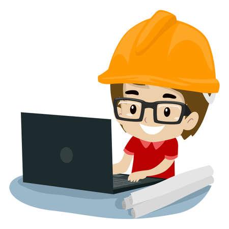 Vector Illustration of Kid Boy Engineer using a Laptop