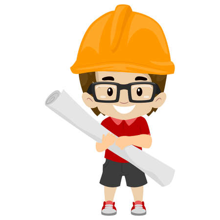 Vector Illustration of Kid Boy wearing Engineer Cap while holding a Rolled Paper