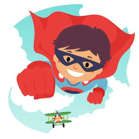 Vector Illustration of a Boy Flying as Super Hero