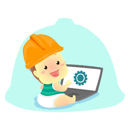 Vector Illustration of Baby wearing a Engineer Helmet in front of the Laptop Stock Vector - 78882016