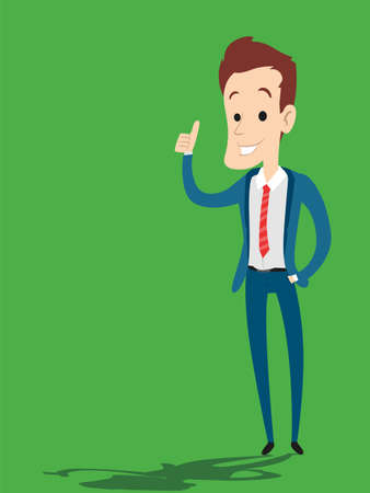 Vector Illustration of a Businessman pointing his fingers up