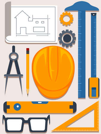 Vector Illustration of Engineering and architecture Tools Elements