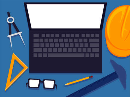 Vector Illustration Engineering Tools Elements with Blank White Screen Laptop Illustration