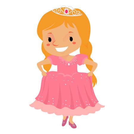 Vector Illustration of a Princess Girl wearing a Pink Dress