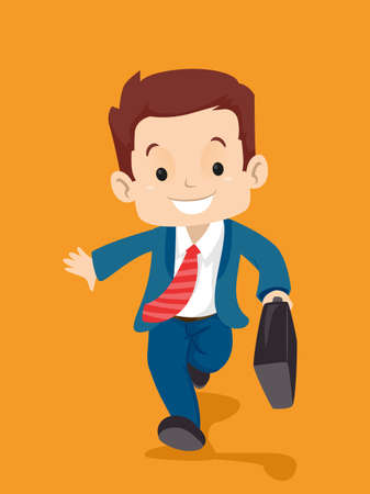 Vector Illustration of Kid in Business Suit carrying a suitcase while walking
