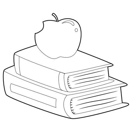 Coloring Book Outlined Apple on top of Books Illustration