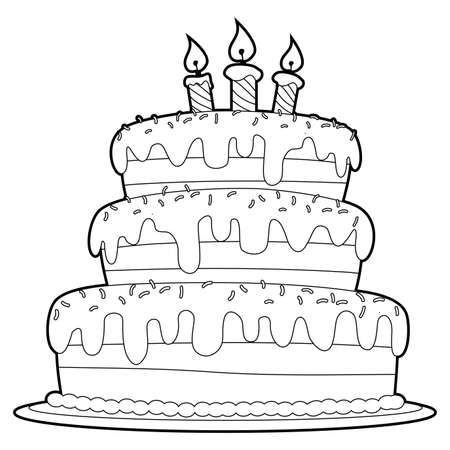 Coloring Book Outlined Three Layer Cake Vettoriali