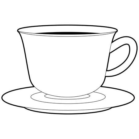 Coloring Book Outlined Cup of Coffee Illustration