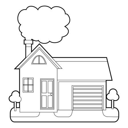 Coloring Book Outlined House with Chimney Smoke Illustration