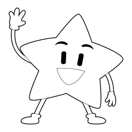 Coloring Book Outlined Star waving Mascot Illustration