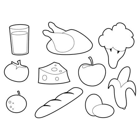 Coloring Book Outlined Set of Dairy and Vegetables Food
