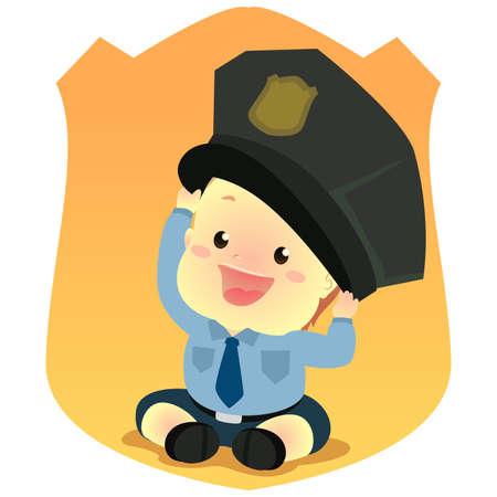 Vector Illustration of Baby wearing a Police Uniform Illustration