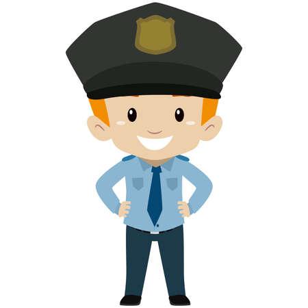 Vector Illustration of Policeman Kid Boy Standing