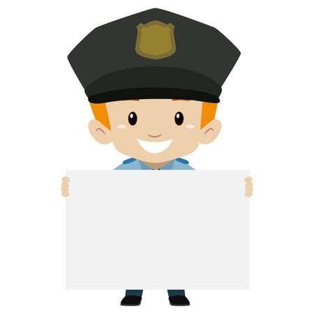Vector Illustration of Policeman Kid Boy holding a Blank Board Illustration