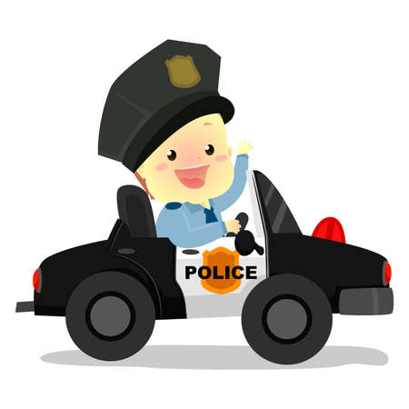 Vector Illustration of Policeman Baby riding a Police Car Illustration