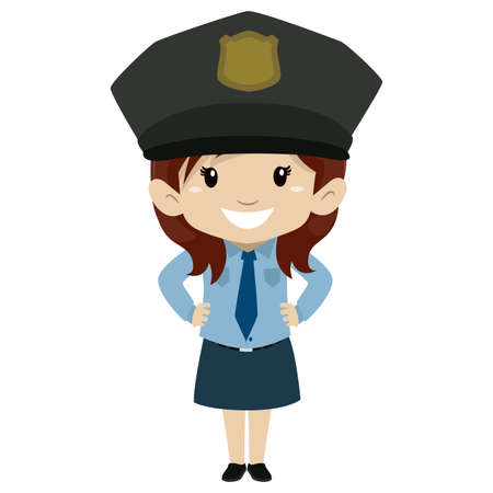 Vector Illustration of Little Girl wearing a Police uniform Hands on waist Illustration