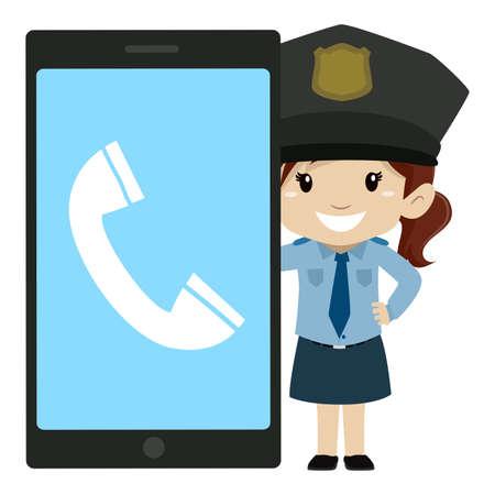 Vector Illustration of Little Girl Police beside a Big Screen Mobile Phone