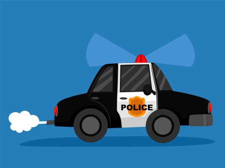 Ilustración de vector de un coche de policía en fondo azul