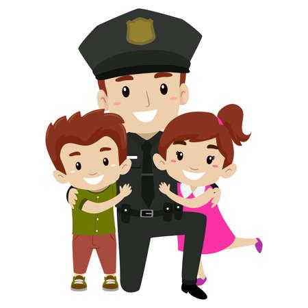 Vector Illustration of Policeman with Kids Illustration