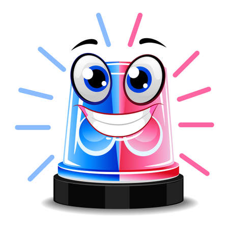 A Vector Illustration of Police Siren Light Mascot. Illustration