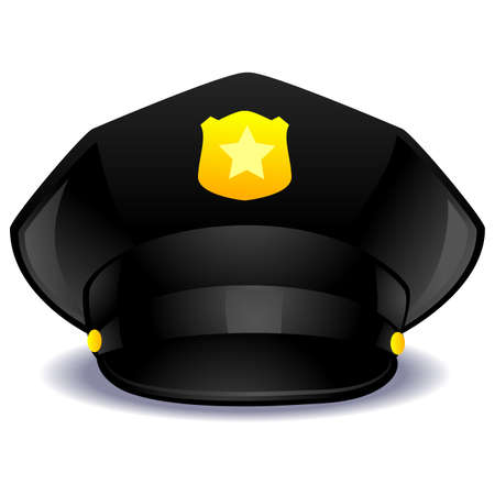 A Vector Illustration of a Black Police Cap.