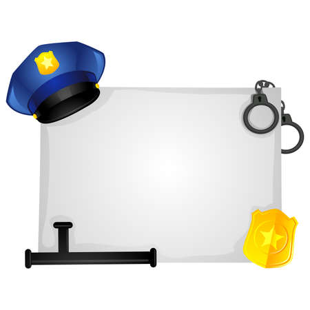 A Vector Illustration of Police Elements on Blank Board.