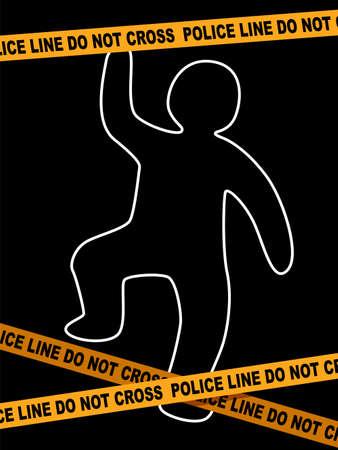 Een vectorillustratie van politie lijn misdaad scène met dode lichaam sporen. Stock Illustratie