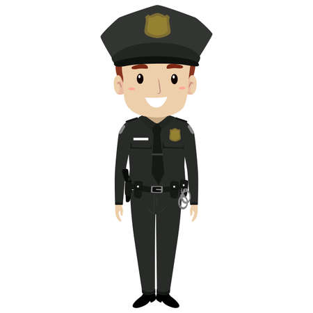 A Vector Illustration of Policeman Standing.