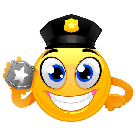 A Vector Illustration of Smiley Emoticon Policeman holding a Badge. Illustration