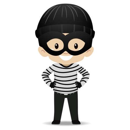 Vector Illustration of Kid Boy wearing a Burglar Costume