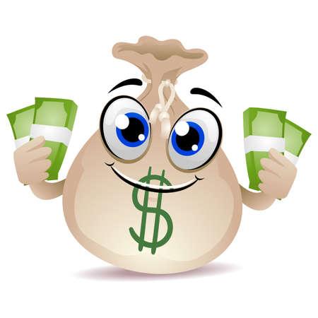 Vector Illustration of Money Bag Mascot holding a Cash