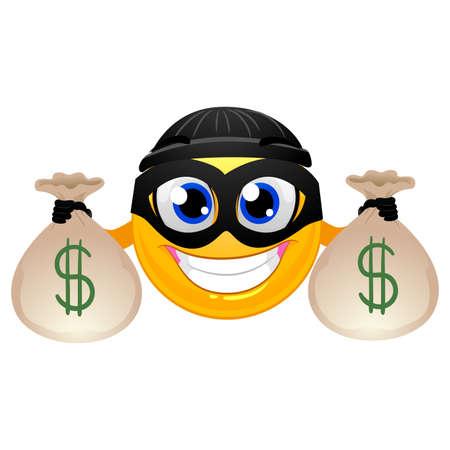 Vector Illustration of Smiley Emoticon Burglar holding Money Bag