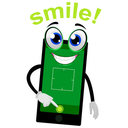 Vector Illustration of Mobile Phone Mascot Pushing the Camera Button