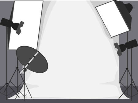 Vector Illustration of White Backdrop Photo Studio with Lights and Camera