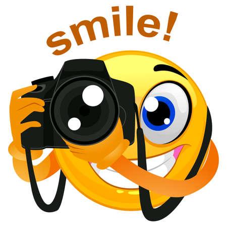Ilustracja wektora Smiley Emoticon Fotograf Gospodarstwa Aparat Cyfrowy