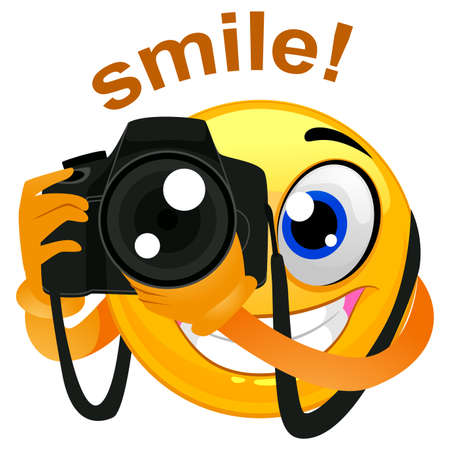 Vector Illustration of a Smiley Emoticon Photographer Holding a Digital Camera Banco de Imagens - 83249107
