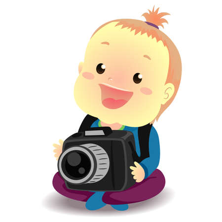 Vector Illustration of Baby holding a Digital Camera