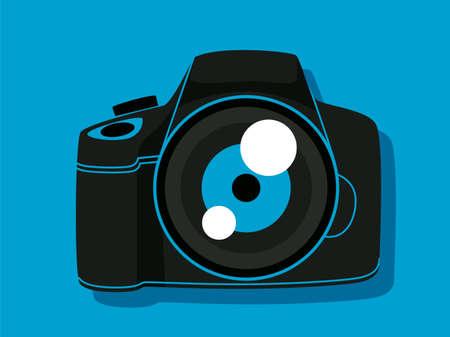 Vector illustration of digital camera in blue background