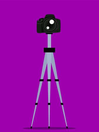 Vector illustration of digital camera on tripod