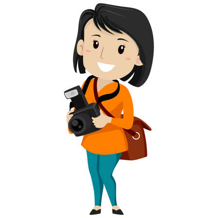 デジタル カメラを持って女性写真家のベクトル イラスト 写真素材 - 83249098